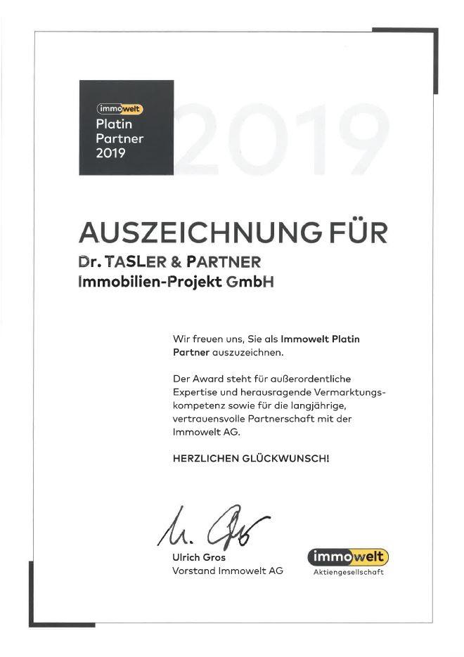 Profi mit Auszeichnung – Immowelt Platin Award